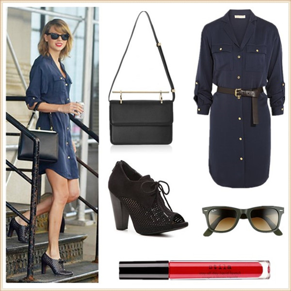 Helenhou.com-Taylor Swift wearing a blue Michael Kors Dress shirt, Dolce & Gabbana 'Agagta',Sam Edelman Cutout Oxfords,Ray-Ban Wayfarer sunglasses