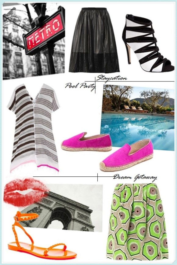 Helenhou.com-vacation outfit ideas 2014 featured tibi faux-leather skirt, Valentino jelly Sandal, Carven kiwi-prints, Espadrille Flats and striped tunic
