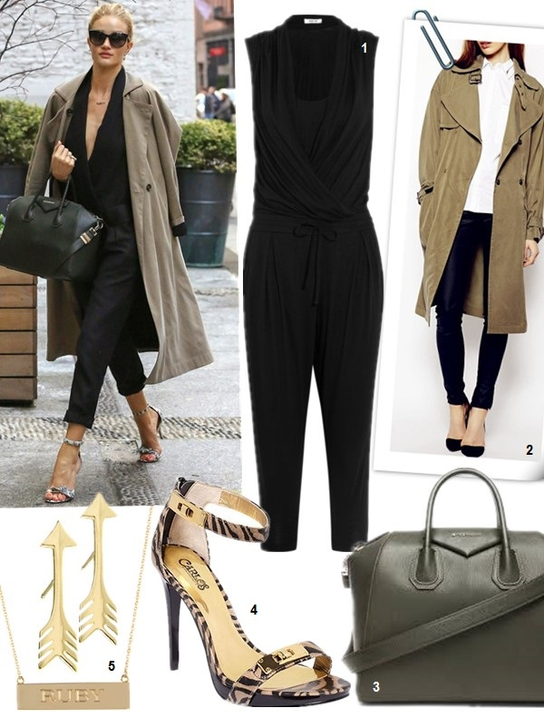 Rosie Huntington street style- Isabel Marant Ofira Jumpsuit,Balmain shoes, Givenchy antigona, Jennifer Meyer jewelry