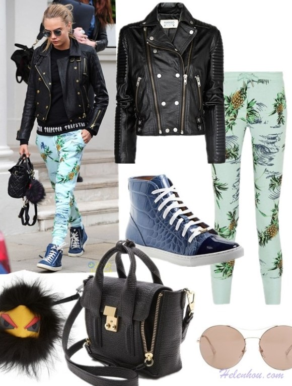 Model off duty 2014, street style,  Featured:  Pants: Zoe Karssen Paradise printed cotton-blend jersey track pants (also here)  Jacket: Mango leather biker jacket (on Cara Delevingne here)  Shoe: Kurt Geiger London    'Leemo' Croc Embossed Leather High Top Sneaker (also love this pair)  Sunglasses: Gucci Round Aviator Sunglasses  Bag: 3.1 Phillip Lim Pashli Mini Satchel  Bag charm: FENDI Monster textured-leather and fox bag charm
