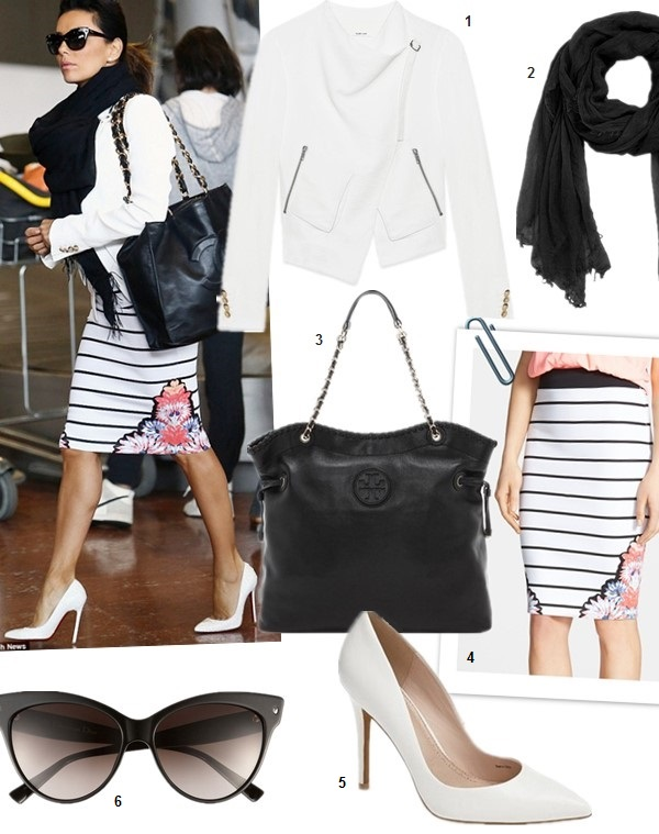 one piece different ways; crop top trend; stripes and florals,  features: 1. Helmut Lang Cropped Sugar Jacket (more sizes here)  2. Halogen Cashmere Wrap  3. Tory Burch Marion Slouchy Tote (another great buy here!)  4. MinkPink Floral and Stripe Pencil Skirt  5. Charles by Charles David 'Pact' Pump (investment worthy here)  6. Dior (Beauty) 'Mohotani' 58mm Cat Eye Sunglasses