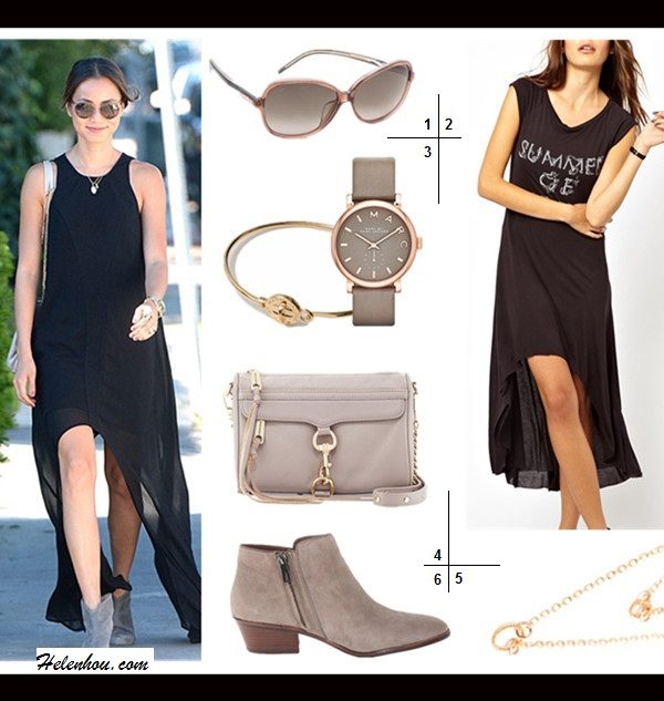 how to accessorize a black maxi dress 1. Gucci Special Fit Glam Sunglasses  2. Sauce Summer Of Love Dress (or this one)  3. Marc by Marc Jacobs 'Turnlock' Skinny Bangle & Leather Baker Watch  4. Rebecca Minkoff 'MAC Clutch' Crossbody Bag (adore the sophisticated color with rose gold hardware!)  5. Gorjana Double Rope Necklace  6. Sam Edelman 'Petty' Bootie (more colors here)