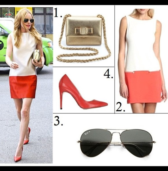 how to wear metallics 2014, Kate Bosworth style featured:  1. Salvatore Ferragamo Vara Flap-Top Ginny Crossbody Bag, Gold (similar here)  2. Donna Morgan Drop Waist Colorblock Dress - Ivory/Really Coral ($69 now!)  3. Ray-Ban aviator sunglasses for women  4. Le Parmentier Red Leather Pump