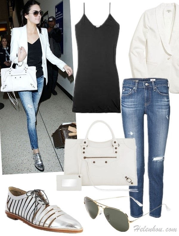 Models off Duty 2014; Celebrity Airport Style; Top: SPLENDID Cotton and modal-blend jersey camisole  Jacket: Madewell duskfall blazer in pure white (another great buy here)  Jeans: AG Adriano Goldschmied The Stilt Cigarette Roll Up Jeans (another great style here!)  Bag: Balenciaga CLASSIC METALLIC EDGE CITY LEATHER TOTE (also here; great alternative here)  Sunglasses: Ray-Ban 'Original Aviator' 58mm Sunglasses  Shoe: Loeffler Randall Opal Mirrored Leather Oxfords