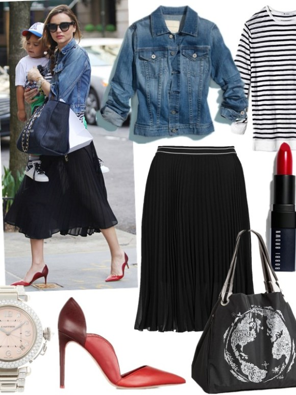 High-low mix; Denim jacket outfits; models off duty street style 2014;  featured:  Jacket: AG 'Robyn' Denim Jacket  Tee: T by Alexander Wang STRIPED RAYON LINEN TEE (also here)  Skirt: topshop SPORT WAISTBAND PLEAT MIDI SKIRT  Lip Color: Bobbi Brown Rich Lip Color in old hollywood  Bag: Nordstrom Eco Tote (also like this one)  Shoes: Valentino Scalloped Pointed-Toe Single-Sole Pump, Red (also here; similar here & here)  Watch: Cartier Pasha White Gold & Diamond Watch, 36mm (similar here)