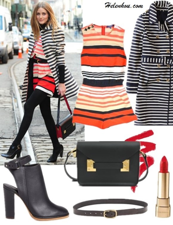 Romper: Peter Som for DesigNation Striped Romper - Women's ($32 now!)  Coat: boden SPRING TRENCH (similar here)  Bag: Sophie Hulme Mini Envelope Crossbody Bag (on Olivia Palermo here)  Lipstick: Dolce & Gabbana Classic Cream Lipstick #610  Belt: Linea Pelle    Vintage Center Bar Hip Belt  Shoe: Vince Joanna Cutout Booties (also on sale here!)