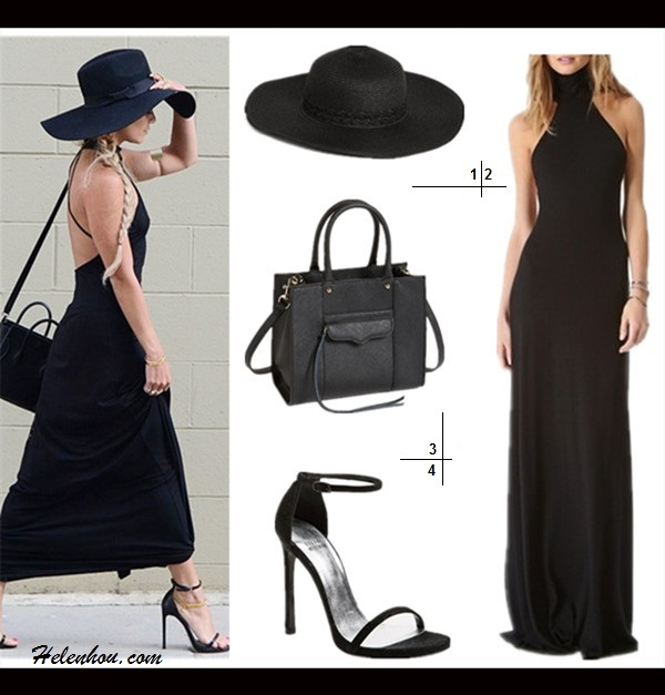 how to accessorize a black maxi dress 1. Nordstrom Wide Brim Hat  2. Rachel Pally Romanni Dress  3. Rebecca Minkoff 'Mini M.A.B.' Crossbody Tote   4. Stuart Weitzman 'Nudist' Sandal (on Vanessa Hudgens here)