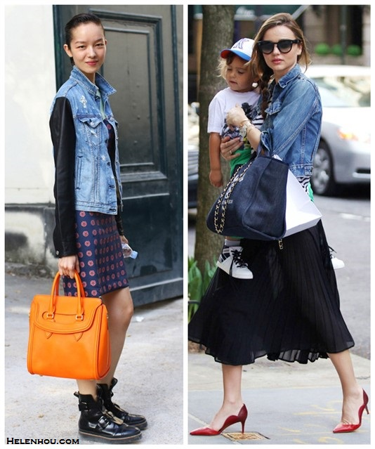 High-low mix; Denim jacket outfits; models off duty street style 2014;