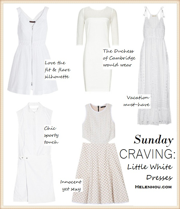 Clockwise from top left:   Kate Moss for Topshop Zip Front Cotton Dobby Sundress (love the fit & flare silhouette and center zips!)  Reiss STRIPE MESH PANEL DRESS (the Duchess of Cambridge would wear)  MICHAEL Michael Kors' broderie anglaise cotton-voile maxi dress (vacation must-have!)  Tibi Sleeveless Cutout Dress (innocent yet sexy!)  Alexander Wang white Tuxedo shirt dress