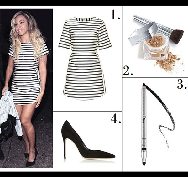 The High Low Mix; Celebrity street style 2014;  Featured:  1. Topshop satin stripe A-line dress  2. Dior (Beauty) 'Diorskin Nude' Natural Glow Fresh Powder Makeup SPF 10  3. Dior (Beauty) Waterproof Crayon Eyeliner  4. Gianvito Rossi black suede pump (similar here & here)