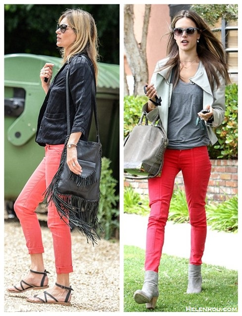 Helenhou.com-Kate Moss, Alessandra Ambrosio, street style, red skinny jeans, Kate Moss for Topshop, pajama top, leather jacket,Alexander Wang bag