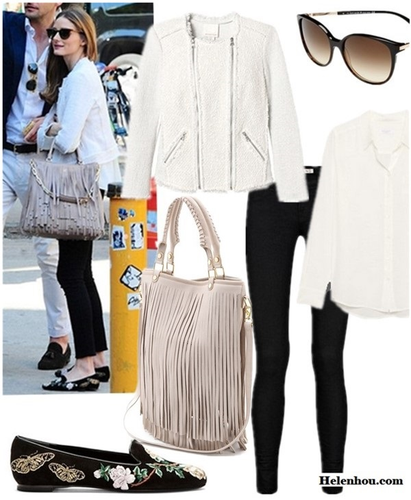 Olivia Palermo street style 2014; the fringe trend; Jacket: Rebecca Taylor Mixed Media Jacket (similar here) club monaco Jenna Tweed Jacket Sunglasses: kate spade new york 'shawna' 56mm sunglasses Top: Equipment Brett Shirt Jeans: J Brand 915 Super Skinny Legging Jeans Bag: B-Low The Belt Twiggy Handbag (also here) Shoe: Alexander McQueen Black & Gold Suede Embroidered Loafers