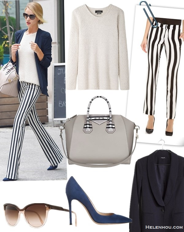 Models off Duty 2014; How to wear printed pants;  Featured:  Sweater: Isabel Marant sweater (similar here) Pants: A.L.C. Andrew Pants  Blazer: Madewell duskfall blazer in deep navy (extra 20% off with SUNNY)  Shoe: Gianvito Rossi Suede pumps (similar here & here)  Bag: Givenchy Ayers-Accented Medium Antigona Duffel Antigona  (on sale! this unique design also avialable here; similar here)  Sunglasses: Stella Mccartney Cat Eye Sunglasses