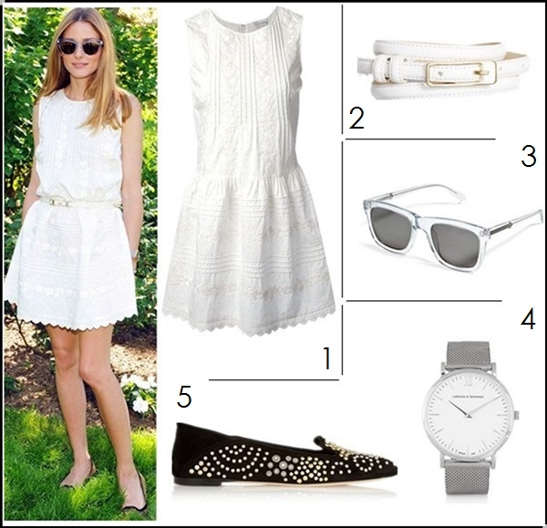 How to wear black and white; summer outfit ideas 2014, street style 2014, Radiant Orchid color trend;  1. RED Valentino Sleeveless Dress with Front/Back Pintucks (great alternative here & here)  2. Ann Taylor buckle skinny belt  3. Karen Walker deep freeze sunglasses (on sale here!)  4. Larsson & Jennings silver-plated watch  5. Alexander McQueen black suede studded slippers (anther of Palermo's favorite on sale here!)