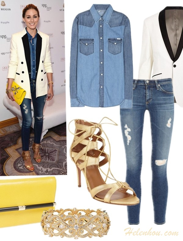 Olivia Palermo style 2014; denim on denim trend;  Featured:  Clockwise from top left:  Shirt: Mother all my exes denim shirt (also here; similar with the two-tone design here)  Blazer: River island WHITE TWO-TONE TUX BLAZER  Jeans: AG Adriano Goldschmied Ankle Legging Jeans (also here; similar here)  Shoe: Aquazzura Cut-out Laced Beverly Hills Sandal (on sale here! similar here)  Bangle: Nadri 'Celtic Knot' Crystal Bangle  Bag: Diane von Furstenberg '440' Embossed Leather Envelope Clutch