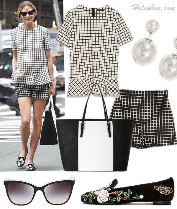 Olivia Palermo street style 2014; How to wear black and white; How to mix checks & stripes,  Clockwise from top left:  Top: Zara checked top (obsessed with this dress)  Earrings: Baublebar METALLIC 360 STUDS  Shorts: Zara checked Shorts (similar here)  Shoe: Alexander McQueen Black & Gold Suede Embroidered Loafers (last seen on her here; similar here & here)  Bag: MICHAEL MICHAEL KORS Jet Set Travel large textured-leather tote  Sunglasses: Dolce&Gabbana Two Tone Cat Eye Sunglasses (similar here)