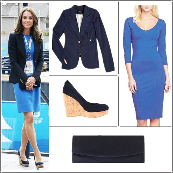 Kate Middleton style 2014; office outfit ideas; wardrobe essentials,  Clockwise from top left:   Smythe One Button Blazer (yes, it's the one her! also here; similar here)  Felicity & Coco Midi Sheath Dress (Nordstrom Exclusive)  (on Kate Middleton here)  Stuart Weitzman Navy Suede Muse Clutch (similar on sale here!)  Stuart Weitzman Corkswoon