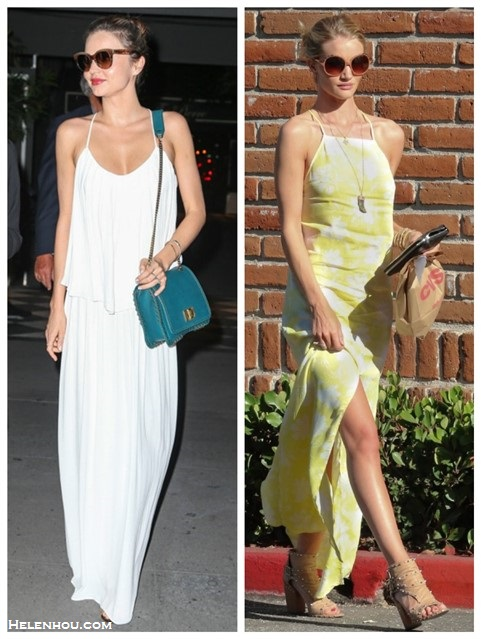 Models off Duty, celebrities street style 2014, how to wear maxi dresses, summer outfit ideas.