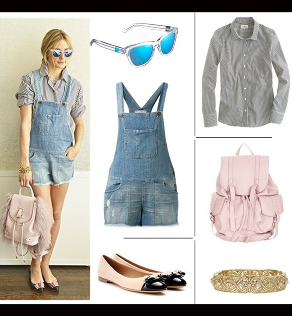 How to wear denim overalls; midi skirt trend.   Summer Outfit Ideas 2014,  Sunglasses: Westward Leaning N9.2. Color Revolution Sunglasses in Blue and White  Overalls: Siwy Jessie Slouchy Short Overalls (yes, it's the on Palermo; also here)  Shirt: J.Crew STRETCH PERFECT SHIRT IN CLASSIC STRIPE (extra 40% off with HOTOUT; another great style here)  Bag: Topshop Faux Leather Backpack  Bangle: Nadri  Shoe: Salvatore Ferragamo 'Varina' Leather Flat (also here; under $100 here)