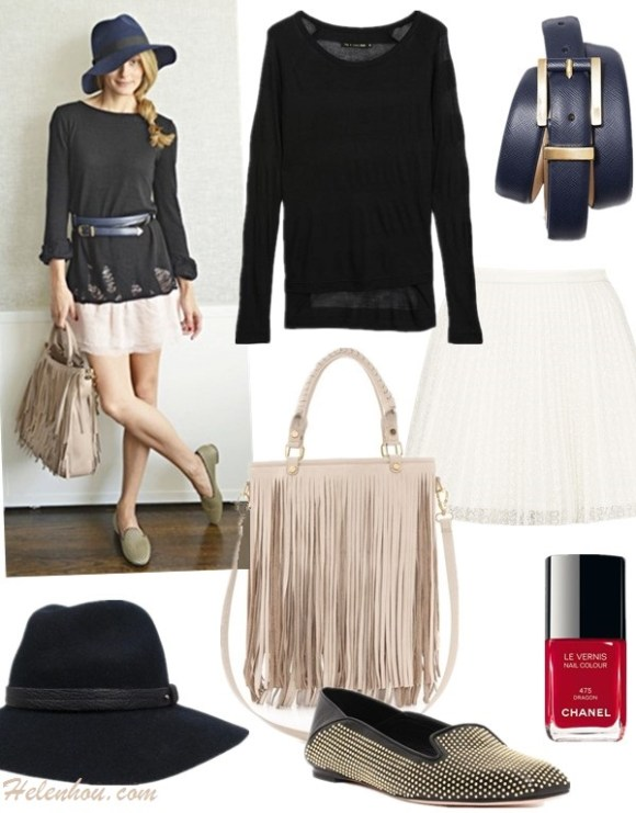 Olivia Palermo style 2014;  spring summer 2014 outfit ideas; how to wear black and white; midi skirt trend, fringe trend,  Top: Rag & Bone Monty Raglan Tee  Belt: Ann Taylor everyday belt  Skirt:  Topshop pleat mini skirt  Nail: Chanel nail color #605  Shoe: Alexander McQueen Studded Soft Back Slipper (60% off! also here; similar here) Bag: B-Low The Belt Twiggy Handbag (last time seen here) Hat: Rag & Bone Wide Brim Fedora