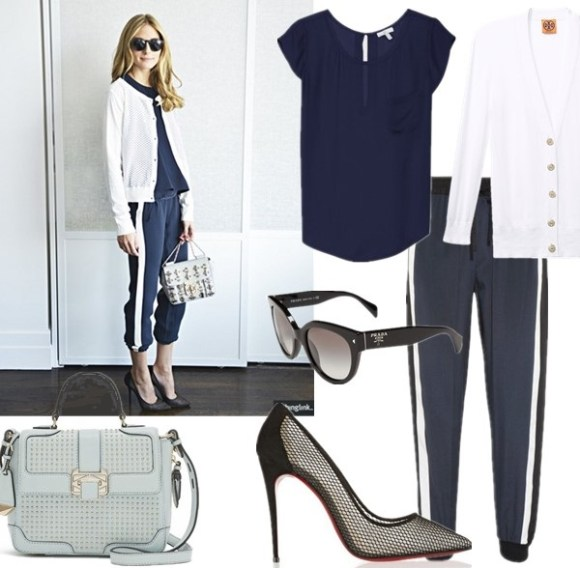 Olivia Palermo style 2014, how to wear the sports trend.   Top: Joie RANCHER TOP  Cardigan: Tory Burch shrunken SIMONE CARDIGAN  Pants: DKNY Striped stretch-silk track pants (they are luxe silk!)  Shoe: Christian Louboutin Follies Resille 100 suede-trimmed mesh pumps (more sizes currently available here; similar here & here)  Bag: Rebecca Minkoff ELLE MINI WITH STUDS (on sale! on Palermo here)  Sunglasses: Prada 54mm Cat Eye Sunglasses