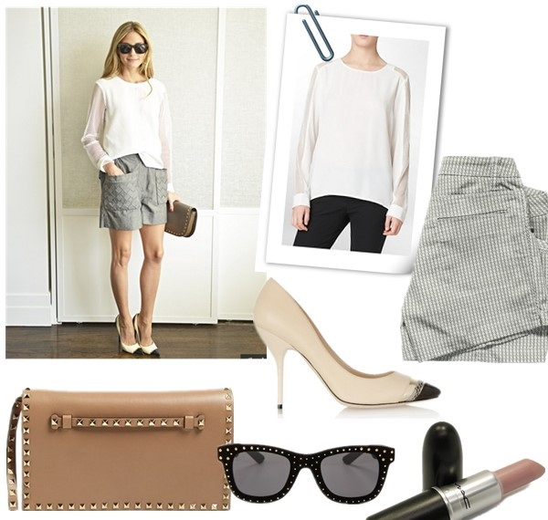 Olivia Palermo style 2014, how to wear the sports trend.   Top: Calvin Klein SOLID MESH SLEEVE TOP  Shorts: Lole Hike 2 Short in warm grey (also love this pair)  Shoe: Jimmy Choo Laguna elaphe-trimmed leather pumps (similar here)  Bag: Valentino 'Rockstud' Flap Clutch (similar here)  Sunglasses: Italia Independent Square Velvet Studded Sunglasses  Lip: M.A.C in 'Pretty Please' (my favorite nude!)