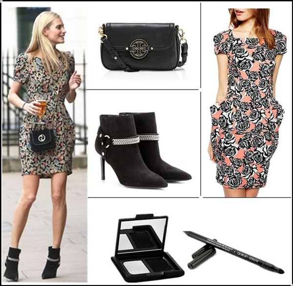 Celebrities street style 2014; How To Wear Floral Trend;  Summer Outfit Ideas 2014;   Clockwise from top left:  Tory Burch Amanda crossbody bag (another great buy here!)  2ASOS Mini Dress in Floral Scuba Print  Nars Duo Eyeshadow in 'Pandora' & Giorgio Armani 'Smooth Silk' Eye Pencil Saint Laurent Paris suede ankle boots (also here; similar here & here)