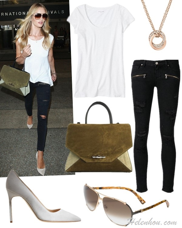 Rosie Huntington-Whiteley  street style 2014;summer 2014 outfit ideas; My new handbag obsession; distress jeans style;   Clockwise from top left:  Top: Eileen Fisher Cap Sleeve Silk Tee (Regular & Petite) (adore the perfect length, cute cap sleeve and lux material!)  Necklace: Michael Kors 'Statement Brilliance' Double Ring Necklace  Jeans: Paige Denim 'Ramone' ultra skinny jeans (Yes, it's the pair on Huntington; my personal favorite here!)  Sunglasses: Dior 'Chicago' 63mm Metal Aviator Sunglasses (similar here)  Bag: Givenchy Obsedia Tote   Shoe: Manolo Blahnik grey suede BB pumps (customize yours here! very similar here)