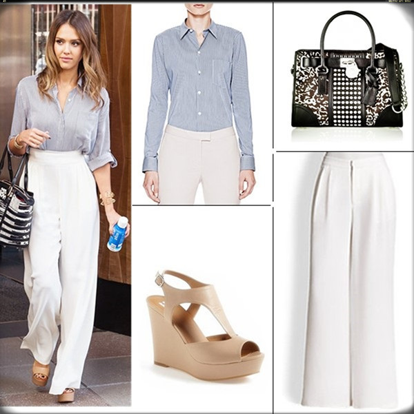 Chic work outfit ideas; celebrity street style; spring/summer 2014 outfit ideas; white pants style;   Clockwise from top left:   Clockwise from top left:   Theory 'Perfect' Pinstripe Shirt  MICHAEL Michael Kors Hamilton studded leather and printed calf hair tote (another great buy here! on Jessica Alba here)  Alice + Olivia Eric pants (similar on sale here)  BP. 'Springs Wedge' Sandal (on Jessica Alba here)