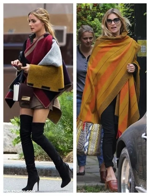how to wear a blanket poncho or a cape; 2014 fall/autumn outfit ideas; celebrity street style,