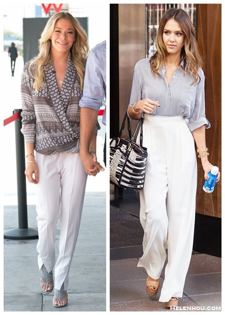 Chic work outfit ideas; celebrity street style; spring/summer 2014 outfit ideas; white pants style