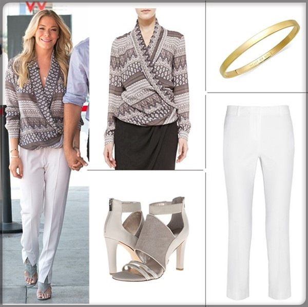 Chic work outfit ideas; celebrity street style; spring/summer 2014 outfit ideas; white pants style;   Clockwise from top left:   L'Agence Long-Sleeve Shawl Collar Blouse (great alternative here & here)  Kate Spade New York 'idiom - heart of gold' bangle  Tory Burch 'Callie' Seamed Crop Pants (love the small slits in the hems!)  Calvin Klein Allena