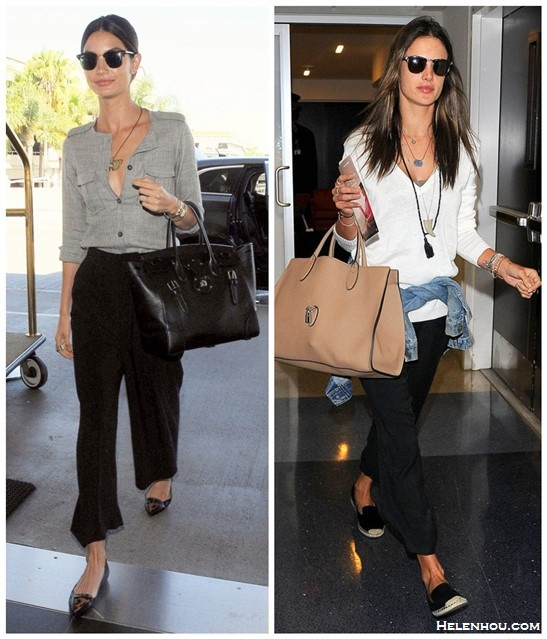 celebrity airport style; model's off duty look; how to wear wide leg pants; how to wear the sport trend