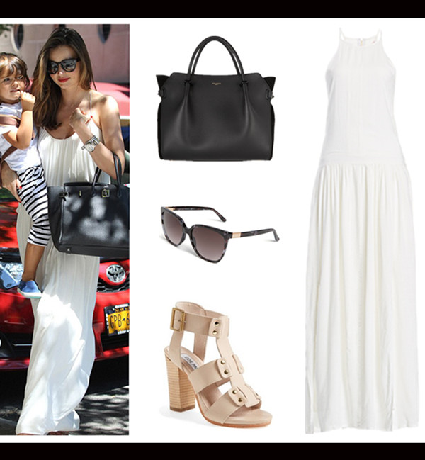Models off Duty looks; spring/summer 2014 outfit ideas; how to style a white maxi dress.  Shoe: Steve Madden 'Nevile' Sandal (also love this pair)  Dress: Three of Something Underworld Maxi Dress  Bag: Nina Ricci classic 'Marche' tote (LOVE the suede side panels and protective feet! similar here)  Sunglasses: Gucci 57mm Oversized Sunglasses