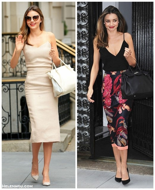 How to wear the midi skirt trend, celebrity street style  2014; models off duty looks; spring/summer outfit ideas,