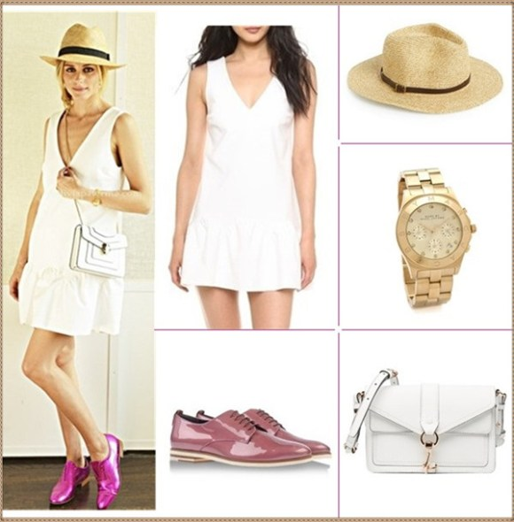 how to wear white dresses; celebrity street style, spring/summer outfit ideas 2014,  Clockwise from top left:  Dress: Elizabeth and James Chambers Dress (Yes, it's the one on Palermo!)  Hat: August Hat 'Salt & Pepper' Fedora  Watch: Marc by Marc Jacobs Large Blade Chrono Watch  Bag: Rebecca Minkoff Hudson Moto Mini Cross-Body Handbag (on Olivia Palermo here)  Shoe: Agl Attilio Giusti Leombruni (similar here!)