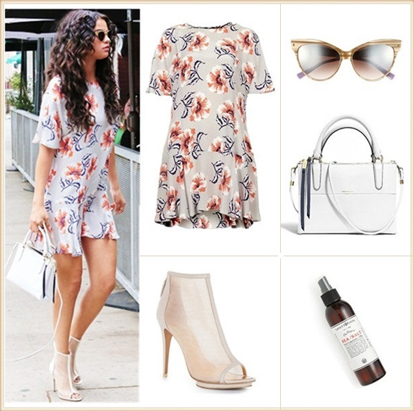How to wear floral print dresses; celebrity street style  2014; spring/summer outfit ideas, Clockwise from top left:  Dress: TOPSHOP Boutique Floral Print Silk Shift Dress (100% silk! love the retro print and flippy hem; similar silhouette here)  Hair mist: Lavett & Chin Sea Salt/Texturizing hair mist, 175ml  Sunglasses: Dior 'Mohotani' 58mm Cat Eye Sunglasses (similar here)  Bag: Coach Borough Bag in size 'Petite' (modern simplicity!)  Shoe: BCBG Max Azria Gamma Mesh Booties
