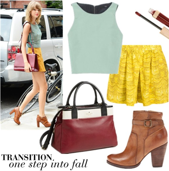 How to wear crop tops into fall; celebrity street style; late summer/early fall outfit ideas 2014;  Clockwise from top left:  Top: Tibi crop top  Lip: Charlotte Tilbury The Vintage Vamp  Skort: Tibi IBIS SKORT (on sale!) Shoe: Frye 'Patty' Leather Riding Bootie  Bag: Kate Spade New York 'branton square - mills' satchel (on Taylor Swift here)