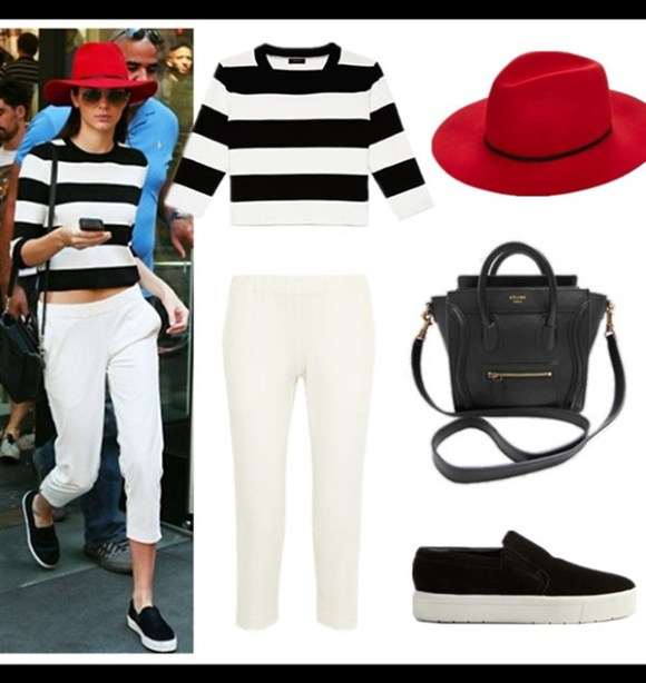 Kendall Jenner wearing Celine Skate Slip Ons, Celine Nano Bag.striped sweater, topshop white pants, September 4, 2014