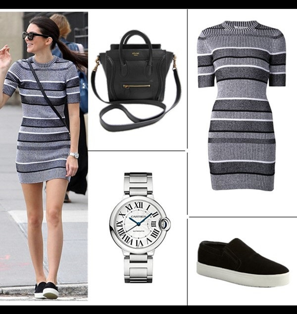 Kendall Jenner wearing T by Alexander Wang Rib Knit Short Sleeve Dress, Celine Skate Slip Ons, Celine Nano Bag.  September 3, 2014