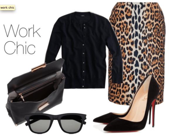 Victoria Beckham on leopard pencil midi skirt,manolo blahnik pumps