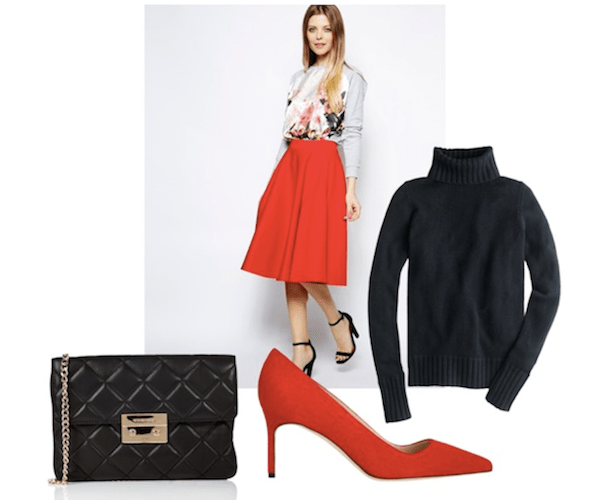 shool event outfit idea red midi skirt, black turtle neck and quilted michael kors bag