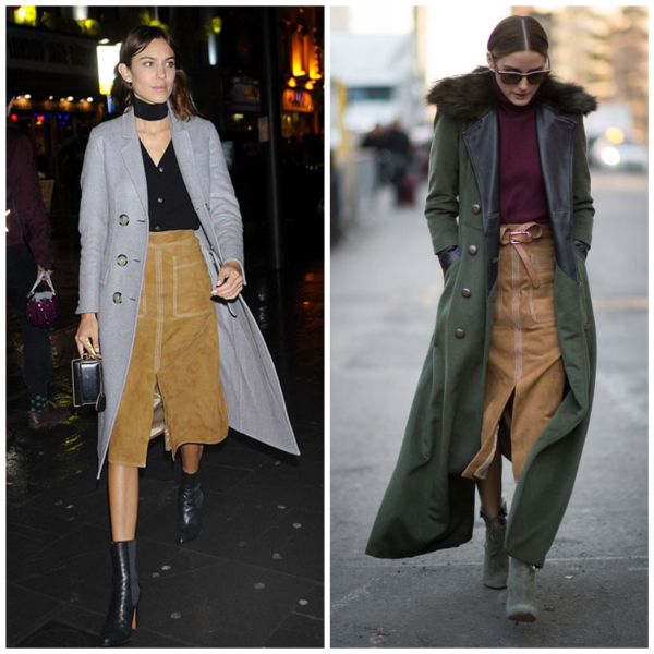 Alexa Chung,Olivia Palermo,70s trend, suede midi skirt, long trench coat, ankle booties