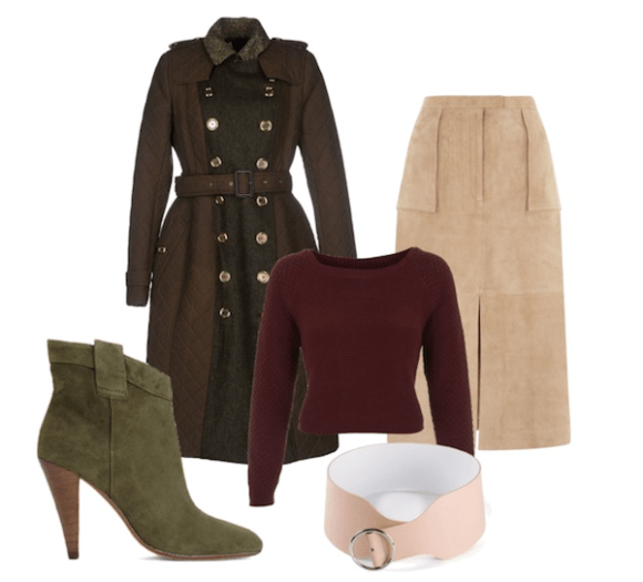olivia palermo inspired 70s look-suede skirt, military  coat, and suede booties