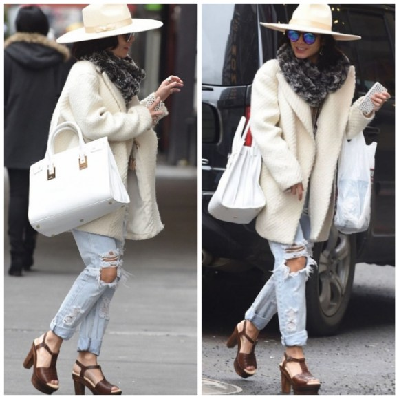 vanessa Hudgens street style Broadway performance-white fedora, Saint Laurent Sac de Jour bag, ripped jeans, platform sandal