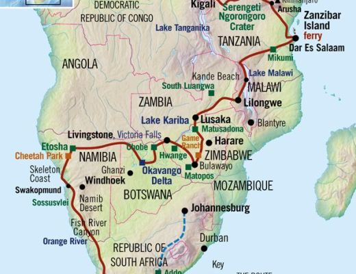 Route plan and itinerary for a trip from Nairobi to Cape Town overland