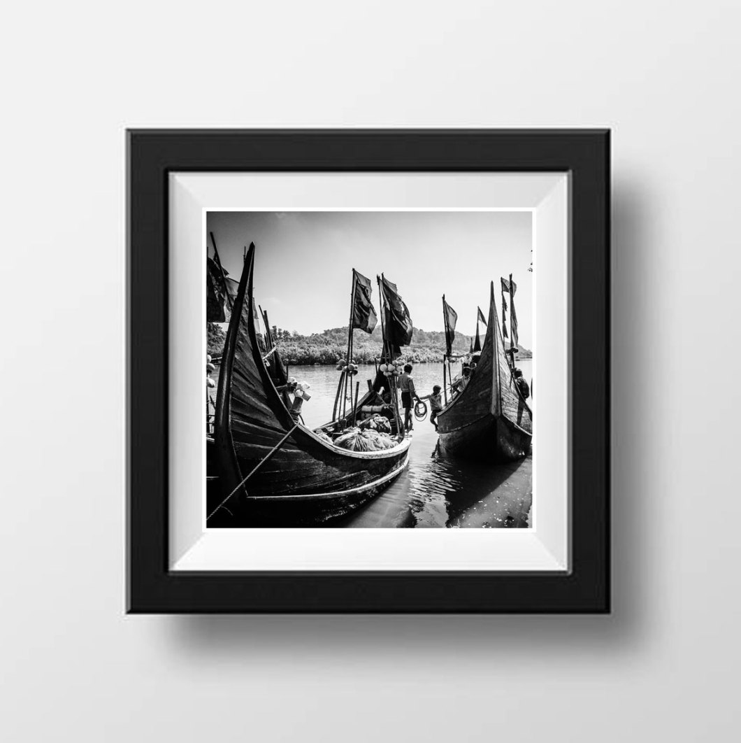 'Fishing Boats' Bangladesh © Jason Florio. BW traditional wooden fishing boats