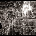 Jason Florio photography - Black & White image of Angkor Wat temple, in the jungle, Cambodia