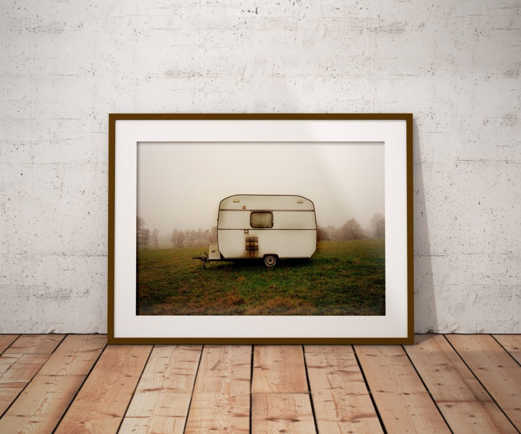 'CARAVAN ENGLAND' ©jason florio- color old caravan on middle of field, at dawn