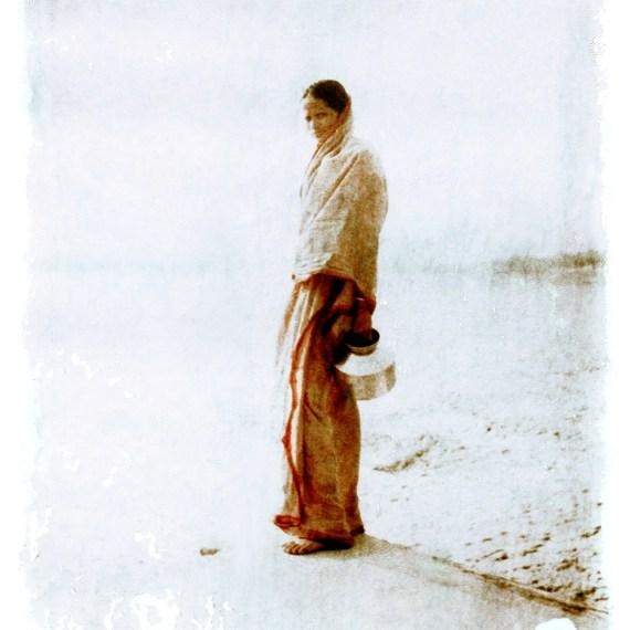 #5- ALSO IN INDIA © OSKAR LANDI. Color. Polaroid. portrait young Indian woman, in a sari